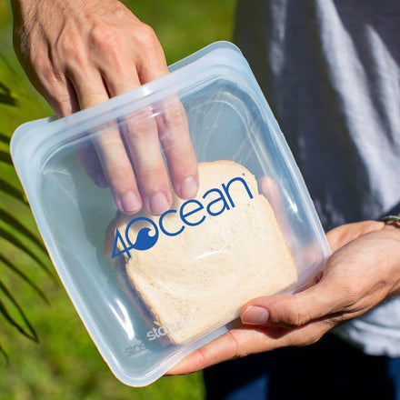 4ocean x Stasher Nonbranded Reusable Storage Bag Sandwich Size Holding a Sandwich
