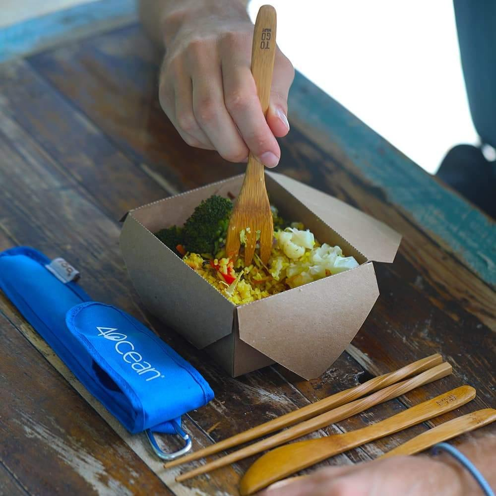 4ocean On-the-Go Holiday Bundle Featuring the 4ocean x To-Go Wear Bamboo Utensil Set