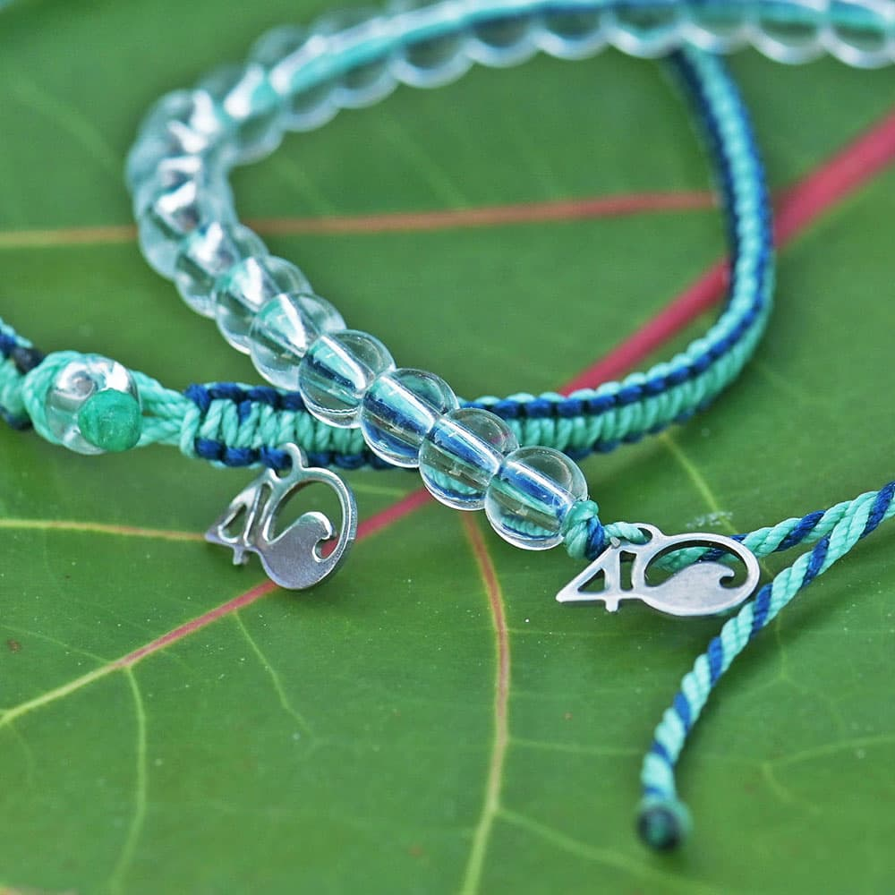 Closeup of the 4ocean Stingray Limited Edition Beaded and Braided Bracelet 2-Pound Pack