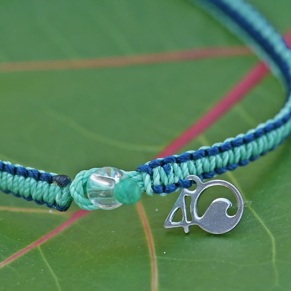 Closeup of the 4ocean Stingray Limited Edition Braided Bracelet