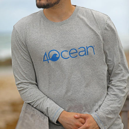 A Man Wearing the 4ocean Unisex Long Sleeve T-Shirt Grey