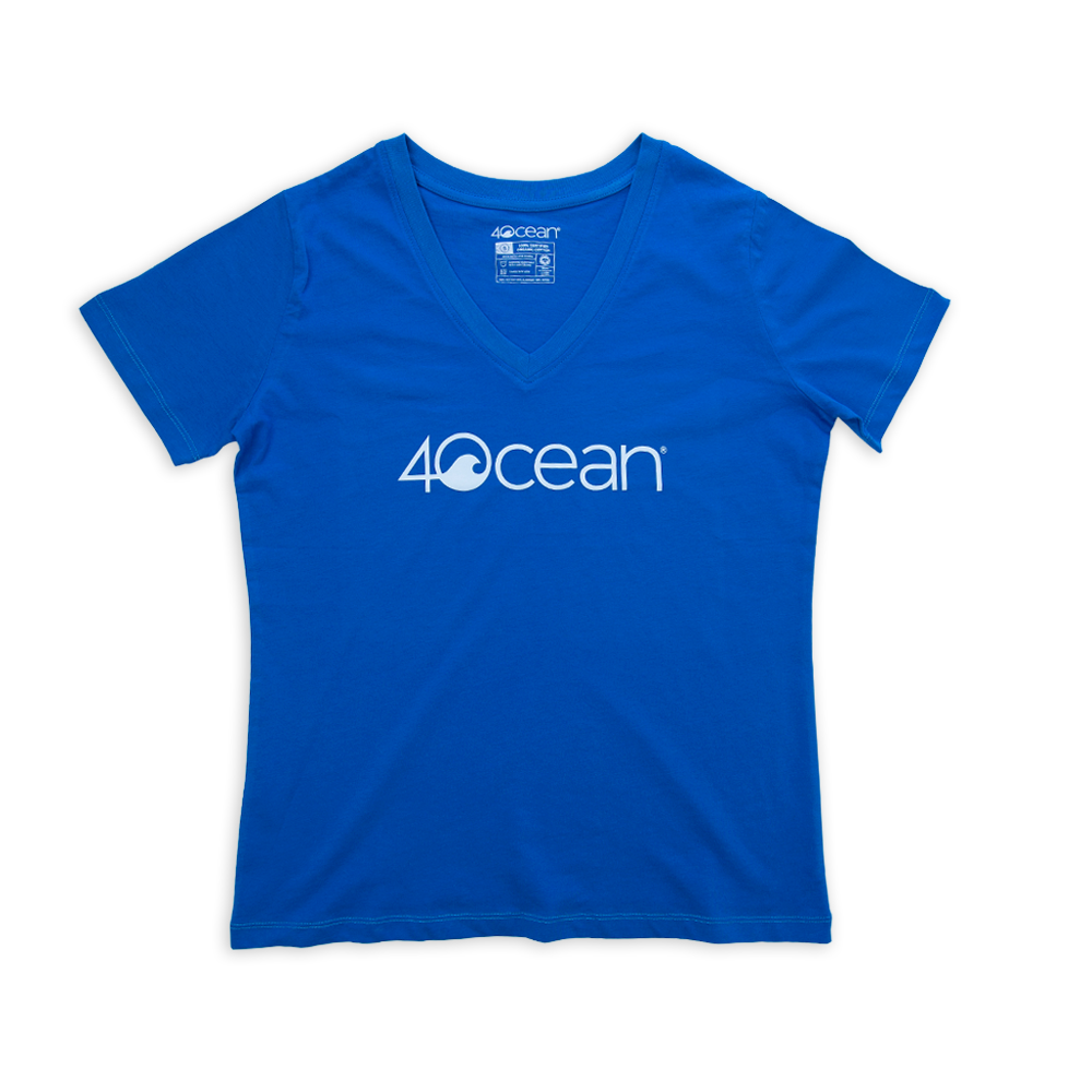 Women's 4ocean Logo V-Neck T-Shirt - Blue