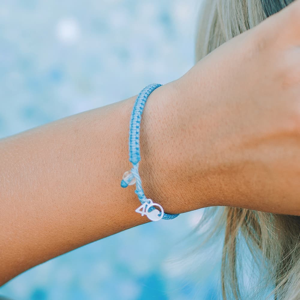 4ocean Jellyfish Braided Bracelet on a Wrist Closeup