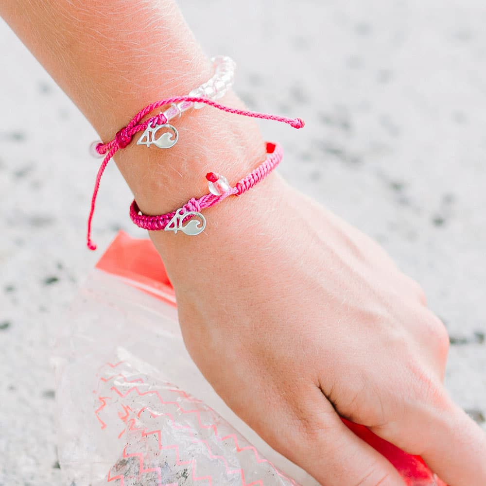 4ocean Pink Flamingo Beaded and Braided Bracelet 2-Pound Pack on a wrist