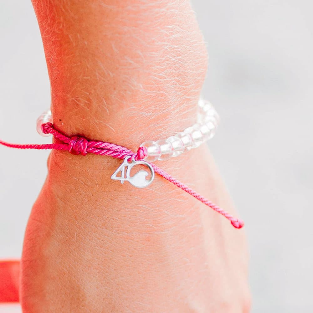 4ocean Pink Flamingo Beaded Bracelet Closeup on a Wrist