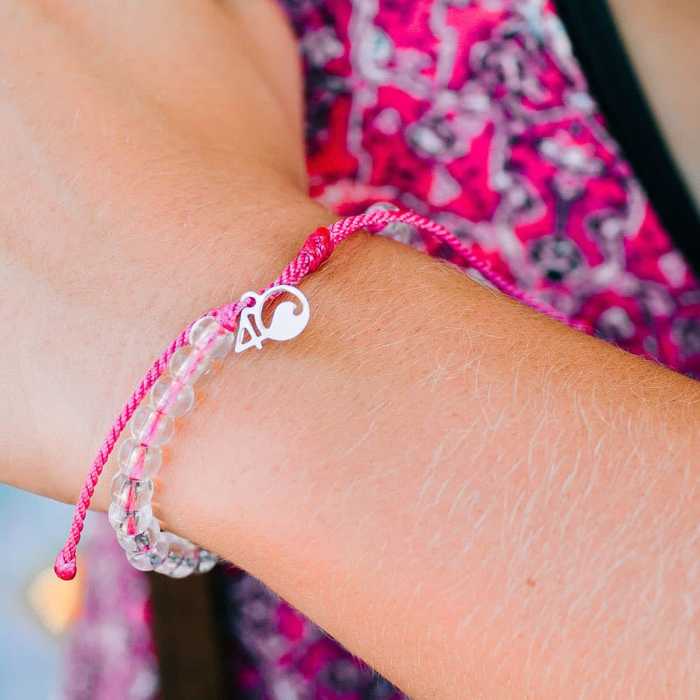 4ocean Pink Flamingo Beaded Bracelet on a Wrist