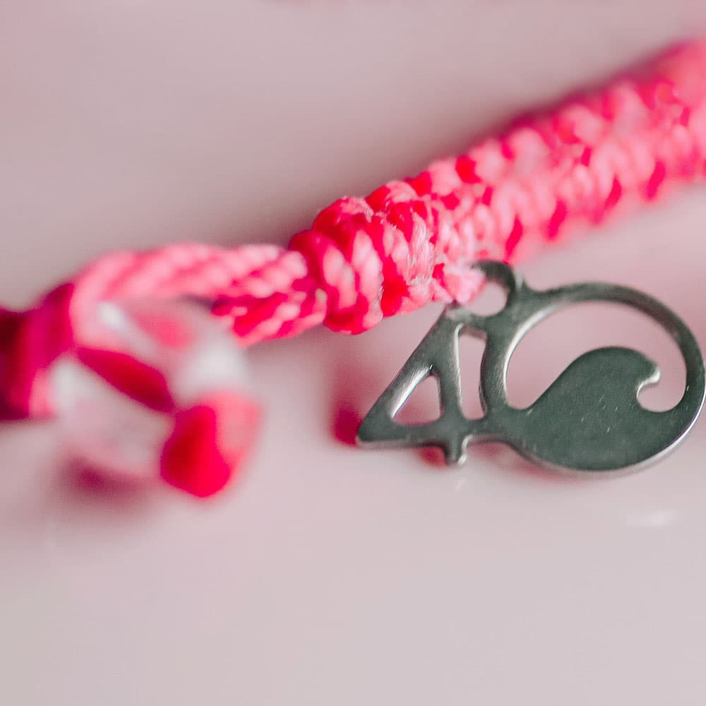 4ocean Pink Flamingo Braided Bracelet Closeup