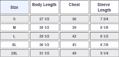 Men's Tri-Blend Crew Sizing Specs