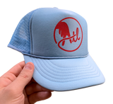 Hat: Small Batch 02, baby blue foam from trucker hat with bright red logo