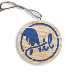 Wooden ATL Holiday Ornament in Blue