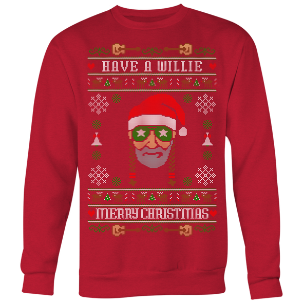 Have A Willie Merry Christmas - Willie Nelson Inspired - Ugly Christmas Sweater Unisex Sweatshirt - ATX HUMOR