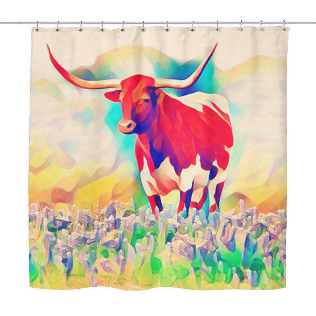 Texas Longhorn Bluebonnet Abstract Shower Curtain