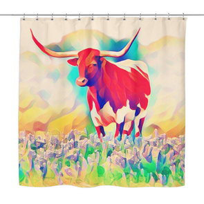 Texas Longhorn Bluebonnet Abstract Shower Curtain - ATX HUMOR
