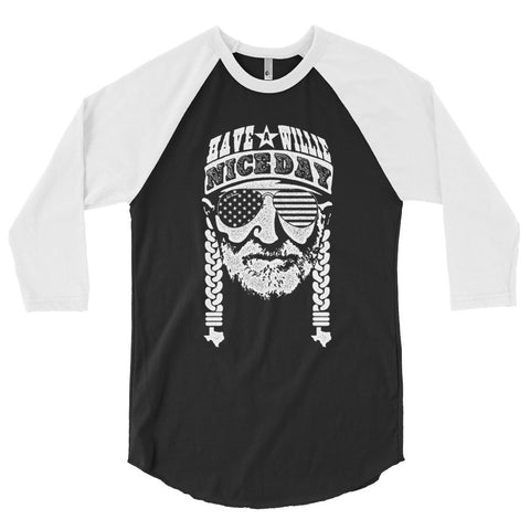 Have A Willie Nice Day (White) 3/4 Sleeve Raglan Shirt - ATX HUMOR