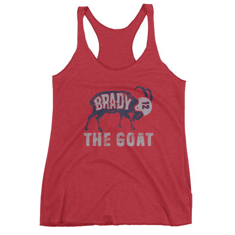 Tom Brady The GOAT (Navy Print) Women's Racerback Tank Top
