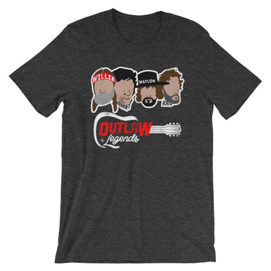 Texas Outlaw Legends - Willie, Johnny, Waylon, and Kris Inspired - Dark Colored Unisex T-Shirt - ATX HUMOR