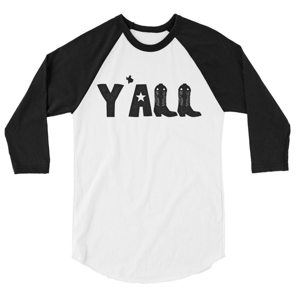 Y'all (Black Print) 3/4 Sleeve Raglan T-Shirt - ATX HUMOR