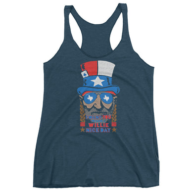 Willie Nelson July 4th Womens Racerback Tank - ATX HUMOR