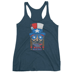 Willie Nelson July 4th Women's Racerback Tank - ATX HUMOR