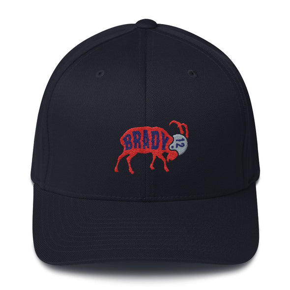Tom Brady New England Patriots Inspired - The GOAT - Fitted Structured Twill Cap - ATX HUMOR