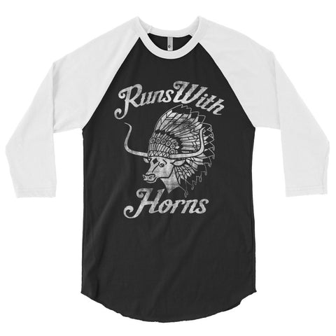 Chief Runs With Horns (White) 3/4 Sleeve Raglan Shirt - ATX HUMOR
