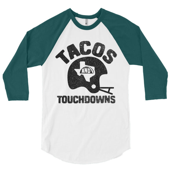 Tacos, Texas, and Touchdowns (Black Print) 3/4 Sleeve Raglan T-Shirt - ATX HUMOR