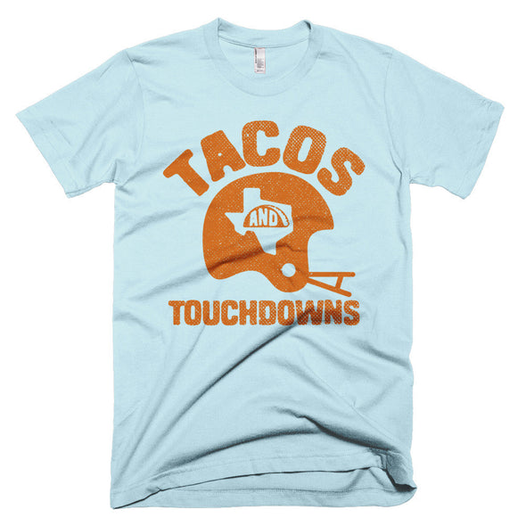 Tacos, Texas, and Touchdowns (Orange) Unisex T-Shirt - ATX HUMOR