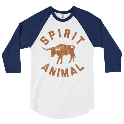 Texas Spirit Animal 3/4 Sleeve Raglan Shirt - ATX HUMOR
