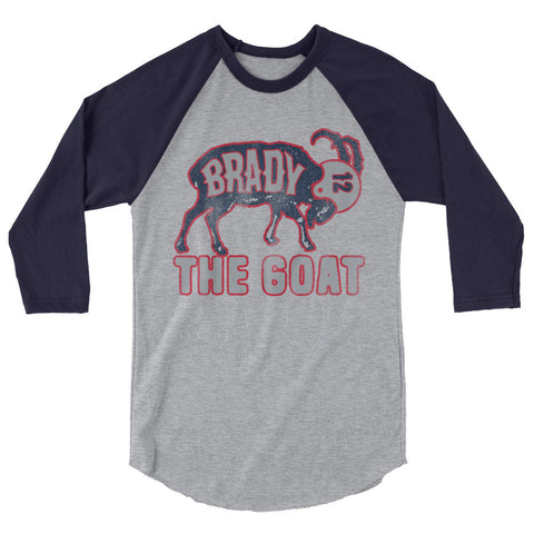 Tom Brady The GOAT (Navy Print) Unisex 3/4 Sleeve Raglan Shirt