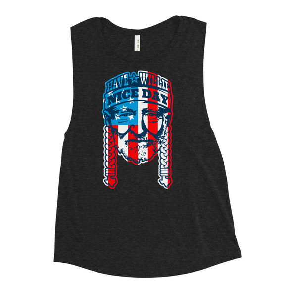 Have A Willie Nice Day USA - American Flag - Willie Nelson Inspired - Ladies' Muscle Tank - ATX HUMOR