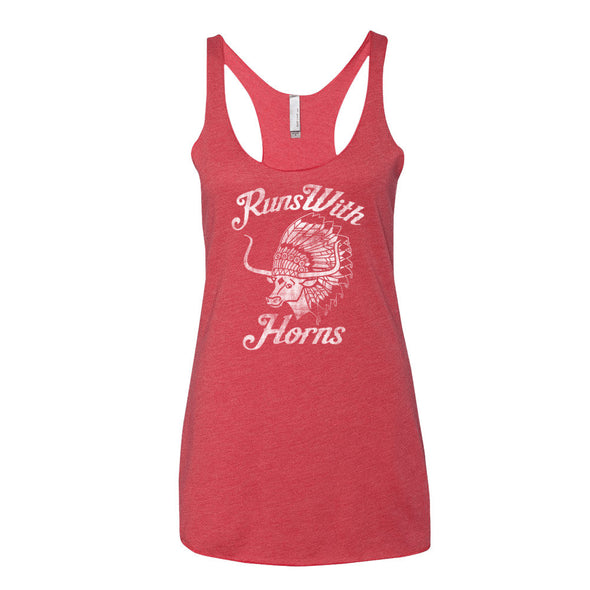 Chief Runs With Horns (White Print) Womens Tank - ATX HUMOR