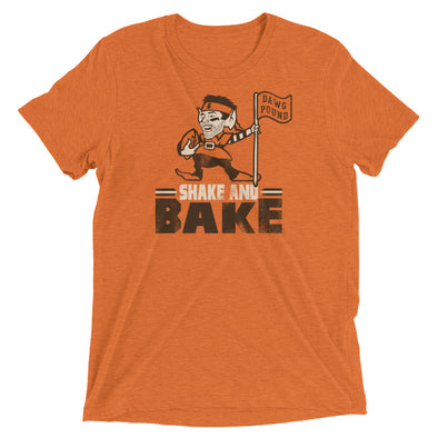 Shake and Bake - Baker Mayfield - Flag Plant - Cleveland Browns Inspired - Unisex Tri-Blend T-Shirt - ATX HUMOR