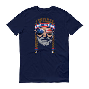 I Willie Love The U.S.A. - Willie Nelson Inspired - American Pride - Unisex T-Shirt - ATX HUMOR