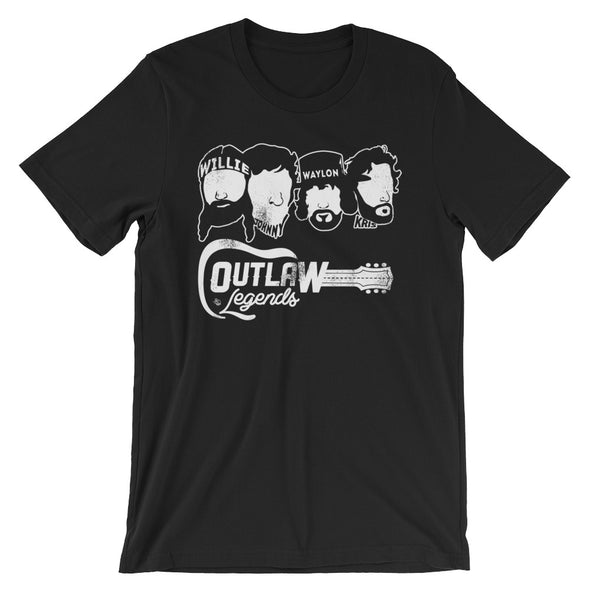 Texas Outlaw Legends - Willie, Johnny, Waylon, and Kris Inspired - (White Print) Unisex T-Shirt - ATX HUMOR