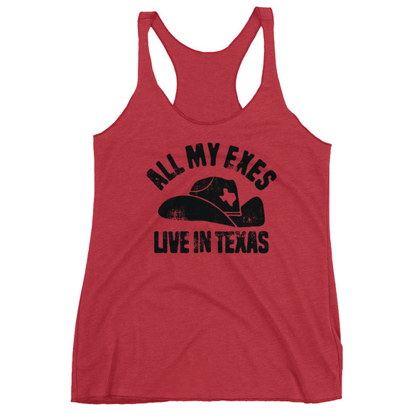 All My Exes Live In Texas King George Strait Inspired Womens Racerback Tank - ATX HUMOR