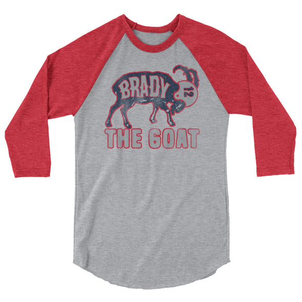 Tom Brady The GOAT (Navy Print) Unisex 3/4 Sleeve Raglan T-Shirt - ATX HUMOR