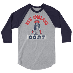 New England GOAT - Tom Brady Inspired - 3/4 Sleeve Raglan T-Shirt - ATX HUMOR