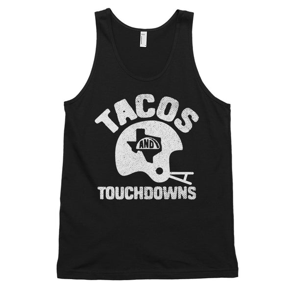 Tacos, Texas, and Touchdowns (White Print) Unisex Classic Tank - ATX HUMOR