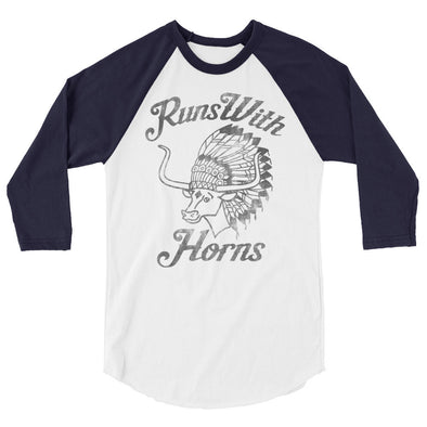 Chief Runs With Horns (Black Print) 3/4 Sleeve Raglan T-Shirt - ATX HUMOR