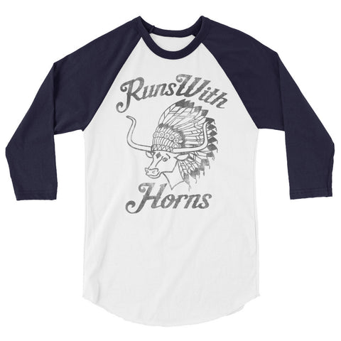 Chief Runs With Horns (Black Print) 3/4 Sleeve Raglan Shirt