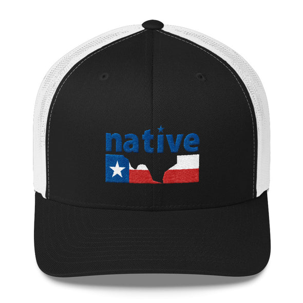 1ec6ee843c04f ... france native texan texas flag six panel trucker snapback cap atx humor  ed8b0 9858b
