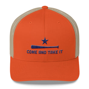 Houston Astros Inspired Come and Take It Orange/Khaki Trucker Cap - ATX HUMOR