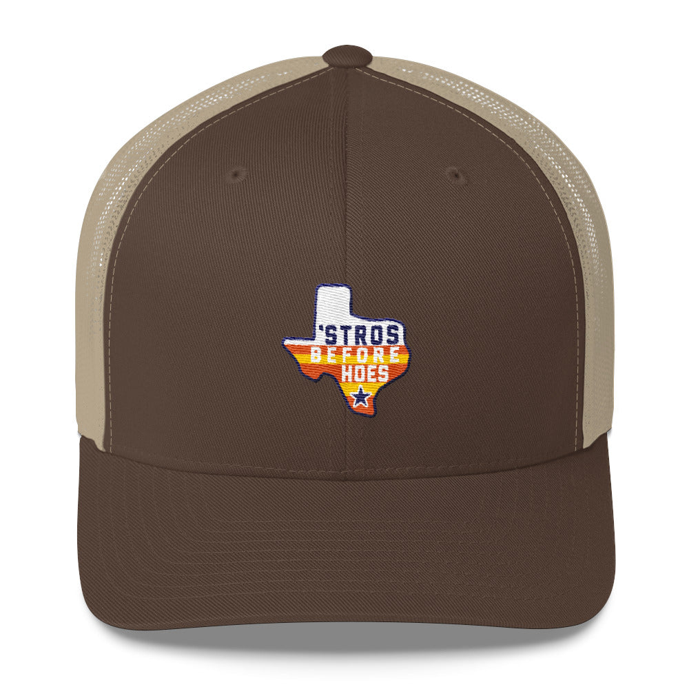 f3082c9c Houston Astros Inspired - Stros Before Hoes Snapback Yupoong 6606 Retro  Trucker Cap