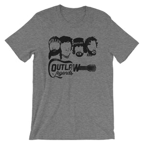 Texas Outlaw Legends - Willie, Johnny, Waylon, and Kris Inspired - (Black Print) Unisex T-Shirt - ATX HUMOR