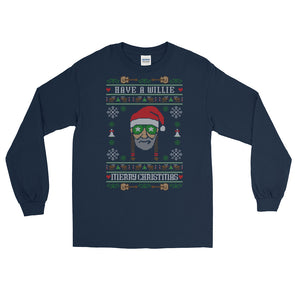 Have A Willie Merry Christmas - Willie Nelson Inspired - Ugly Sweater Unisex Long Sleeve T-Shirt - ATX HUMOR