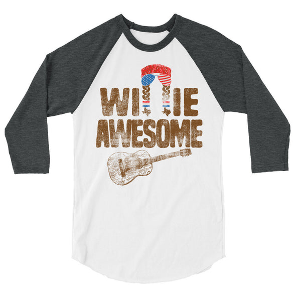 Willie Awesome USA 3/4 Sleeve Raglan T-Shirt - ATX HUMOR