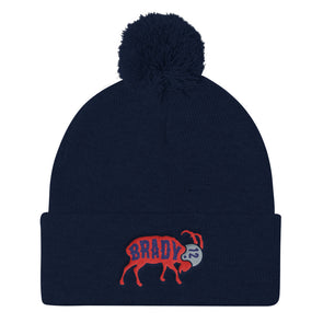 Tom Brady The GOAT Pom Pom Knit Cap Beanie - ATX HUMOR