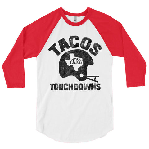 Tacos, Texas, and Touchdowns (Black) 3/4 Sleeve Raglan Shirt - ATX HUMOR