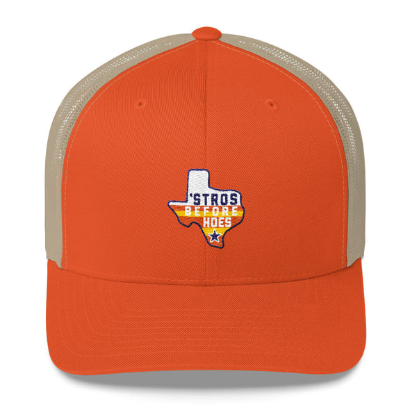 Houston Astros Inspired - Stros Before Hoes Snapback Yupoong 6606 Retro Trucker Cap - ATX HUMOR