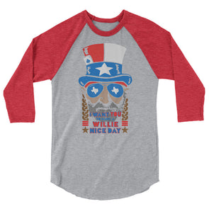 Willie Nelson July 4th 3/4 Sleeve Raglan T-Shirt - ATX HUMOR
